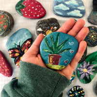 Happy Stones painted by Nicolette Pilla '21 (psychology)