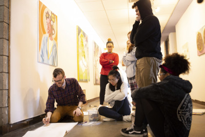Students in the Visual Arts building
