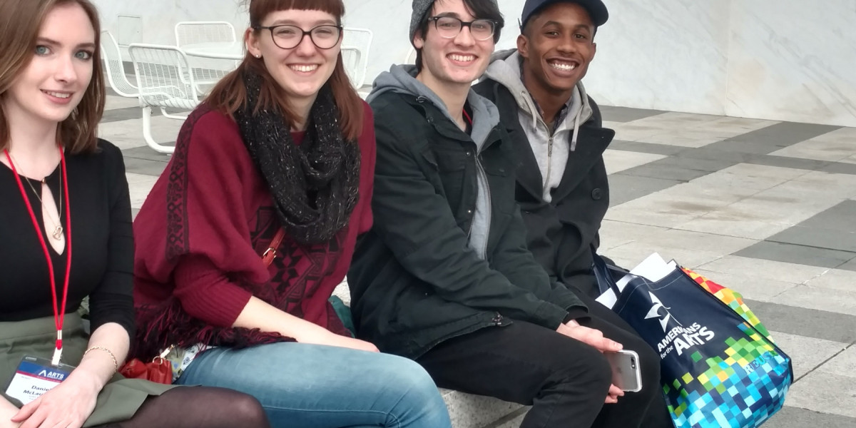 Arts Advocacy students outside Kennedy...