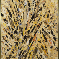 Lee Krasner, Burning Candles, 1955, Oil, paper and canvas on linen, 58 1/8 x 39 inches (canvas), 59 ¼ x 40 3/8 x 2 inches...