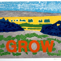 Les Levine, Grow, 1982, Etching and silkscreen on paper, 36 x 42 inches, Collection Neuberger Mus...