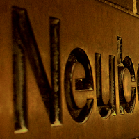 Neuberger Museum engraved signage on the wall outside the museum