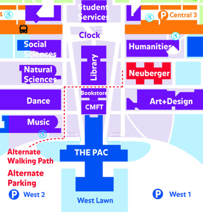 Alternate parking and walking routes to the Neuberger Museum of Art during the repaving of Visitor Parking Lot West 1