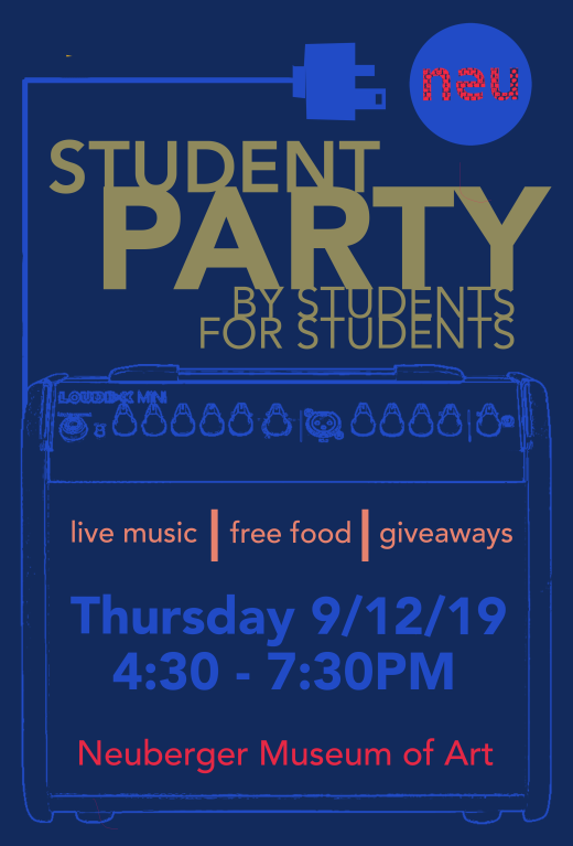 "Promotional banner for the ""Welcome Back"" student party at the Neuberger Museum, September 2019"