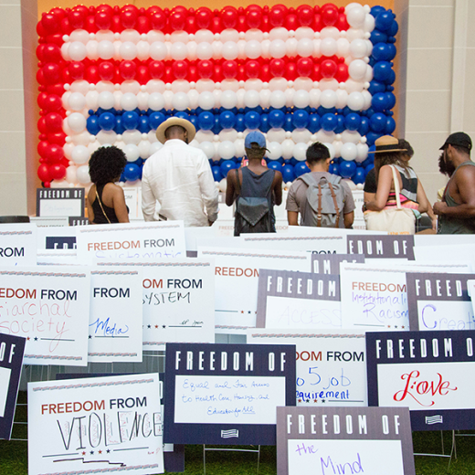 """For Freedoms"" lawn sign project at the Brooklyn Museum in 2016"