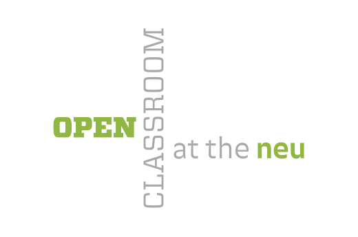 "Wall signage for ""Open Classroom at the NEU"""