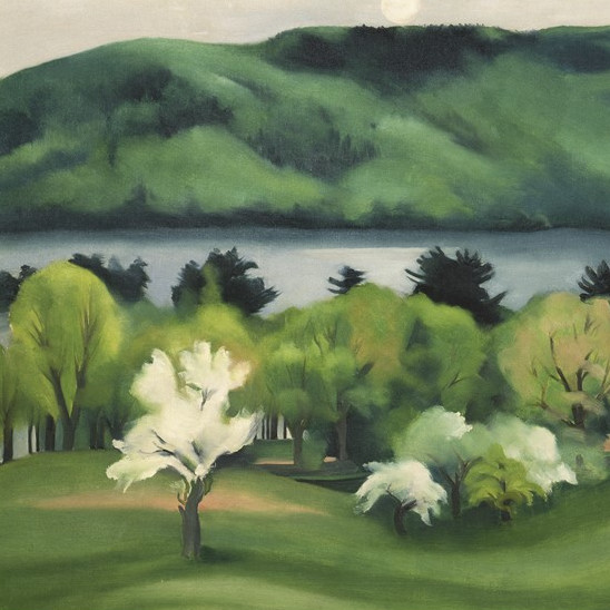 Georgia O?Keeffe, Lake George by Early Moonrise, 1930. Oil and gouache on canvas, Collection Neub...