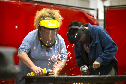 Working in the metal shop in the Visual Arts building