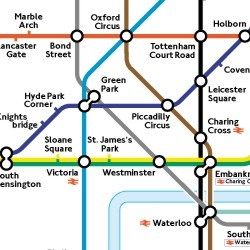 Colored image map of the London Underground Subway System
