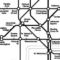 Black and White image map of the London Underground Subway System