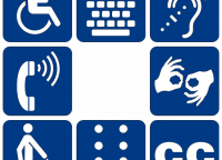 Pictograms accessibility: assistive listening systems, braille, closed captioning, low vision, sign language, telephone ty...