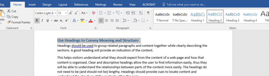Selecting headers in Microsoft Word after highlighting the text first.
