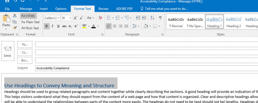 how to add headings in outlook