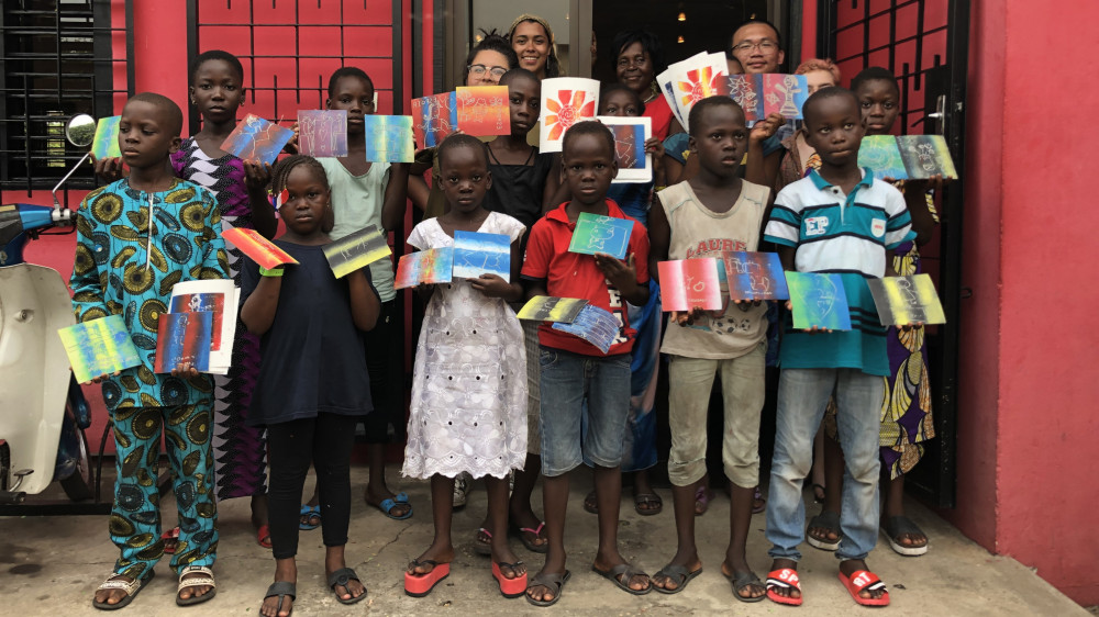 Children in art workshops in Benin