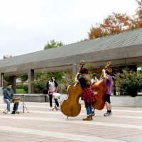 Jazz students play socially distanced outdoors on campus