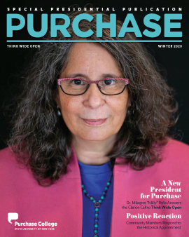 Cover of PURCHASE magazine featuring President Milly Peña on a black background