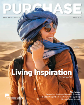 Cover of PURCHASE Magazine Fall 2019 Issue (Erin Sullivan '12 in the desert with sunglasses and a head scarf)