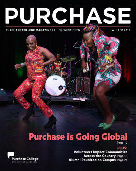 Cover of Winter 2019 issue of PURCHASE Magazine (image of Angélique Kidjo dancing on stage with a member of Benin International Music ensemble.)