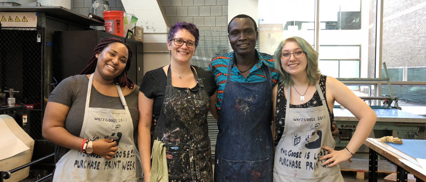 Beninese artist Hector Sonon with students Nana Achampon, Beth Gerrmone Ross and Emily Murray
