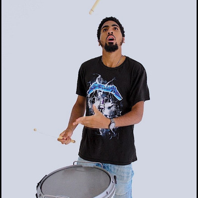 A picture of Jahleel Hills drumming