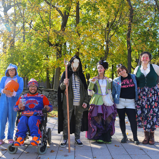 Students dressed in costumes for Halloween.