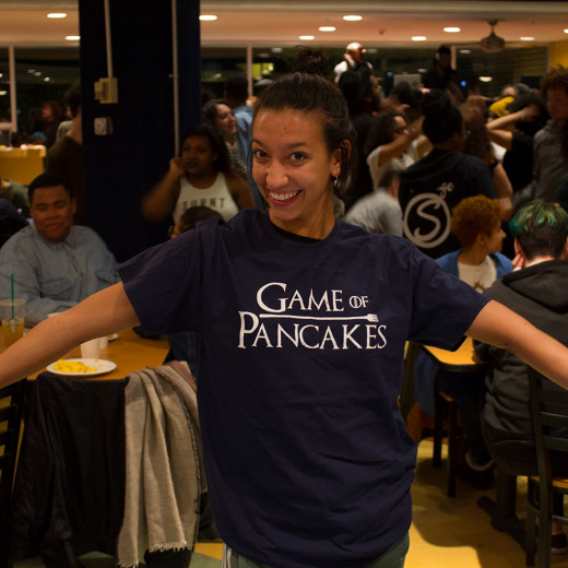 Girl wearing Game of Pancakes t-shirt