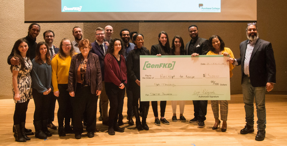 All participants of the second annual Start Up Purchase Pitching Competition with oversized check
