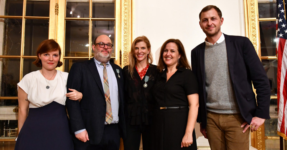 Anne Kern poses with others at Awards Ceremony for Chevalier of the Order of Arts and Letters