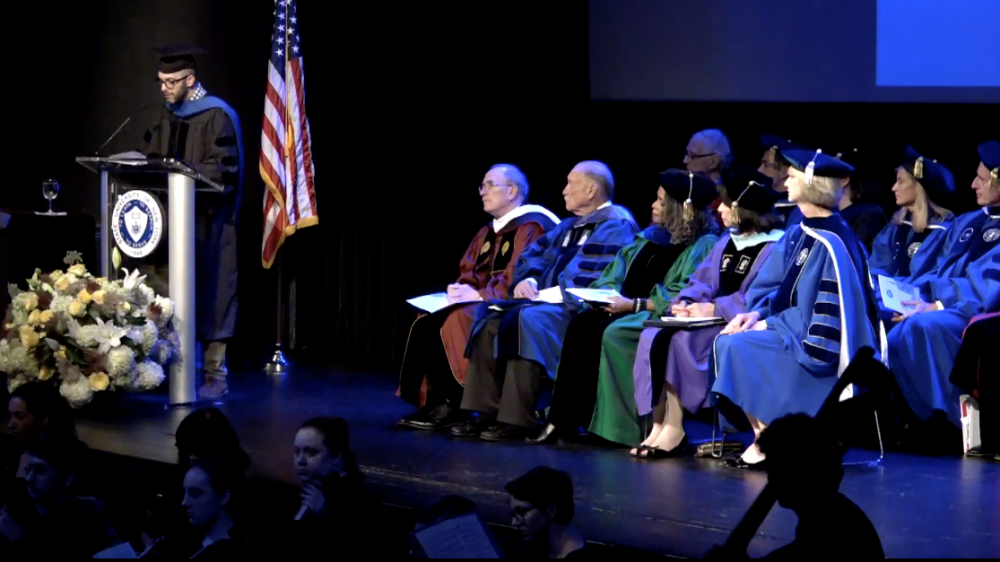 Literature professor Anthony Domestico speaks at the SUNY Chancellor's Inauguration