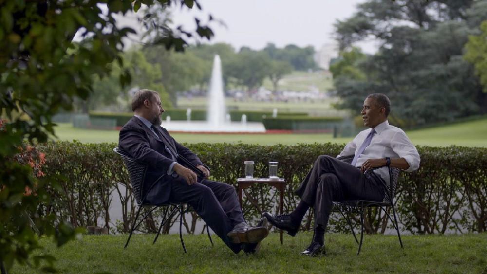 Vice: A House Divided (HBO) earned an Emmy nomination for executive producer  Jonah Kaplan '95 (video still with Vice's Shane Smith and President Obama)