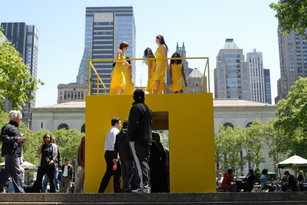Kate Gilmore, Walk the Walk, 2010 (Performance/Installation, Public Art Fund, New York, New York; Women dressed in yellow walking atop a painted yellow structure)