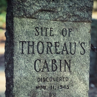Stone marker for site of Thoreau's cabin