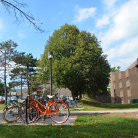 Bikes outside of Big Haus residence hall