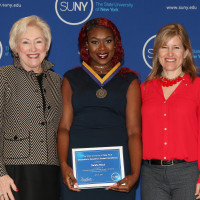 Natalie Black '17 with SUNY Chancellor Nancy Zimpher and Jennifer Shingelo, Assistant Dean, ...