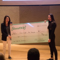 Seniors Angela Galli and Kelly Hayes receive oversized check for winning the second annual Start Up Purchase Pitching Comp...