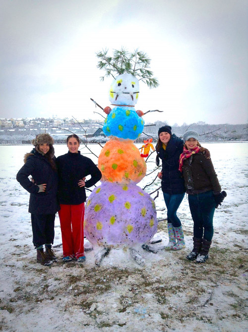 Students with Colorful Snowman