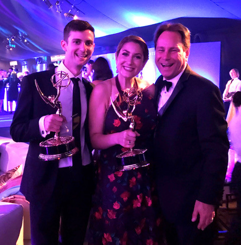 Alumni Ben Green ?15, Melissa Shakun ?08, and Professor David Grill ?86 at the Emmy Awards in 201...
