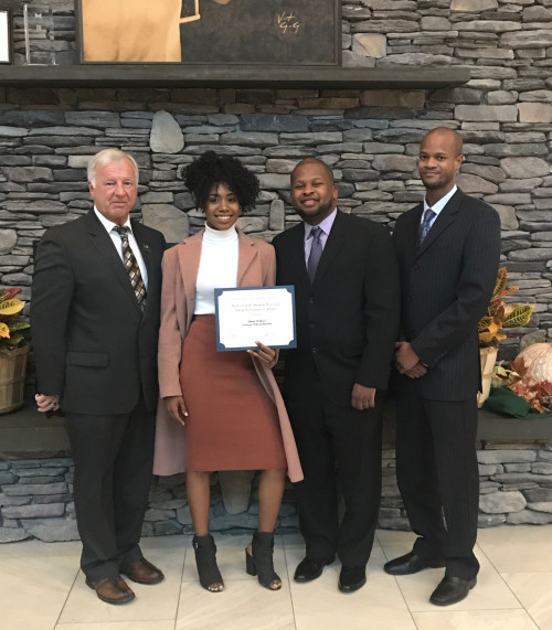 Left to right: Malcolm Harris, retired Chief of SUNY Utica Police, whose family the scholarship honors; Shania Wofford; Chief Dayton Tucker and Lieutenant Donnelle Charles, both of NYSUP at Purchase.