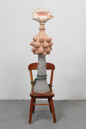 Nancy Bowen, Artemis' Dilemma, 2016, ceramic, shell, chair and mixed media