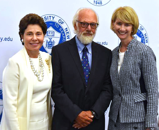 SUNY Board of Trustees Chairwoman, Merryl Tisch, President Emeritus Thomas J. Schwarz and Chancellor Kristina M. Johnson