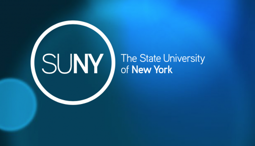 SUNY logo and wordmark, white on blue background