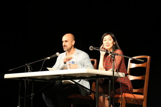 Authors Hari Kunzru and Katie Kitamura on stage during the Durst Distinguished Lecture Series.
