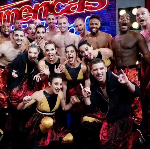 Majella Loughran '12 and the Diavolo Dance Company following their semi-final win on NBC's America's Got Talent