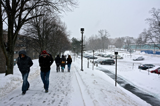 Students walking in the snow.