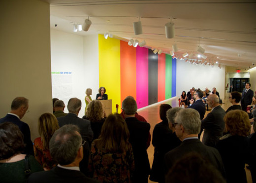 Curator Helaine Posner and Artist Deborah Kass at the podium