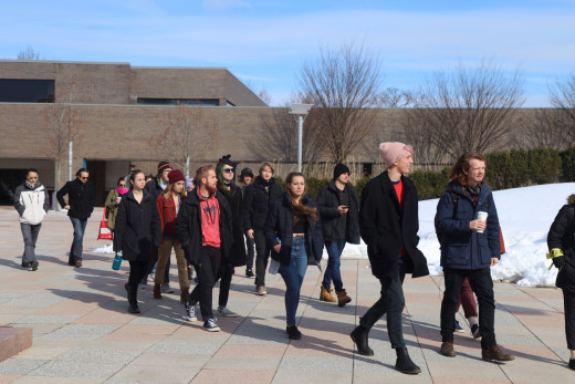 Students on the main plaza to protest gun violence