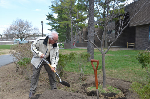 President Schwarz helps plant a tree for Clean and Green Day 2018