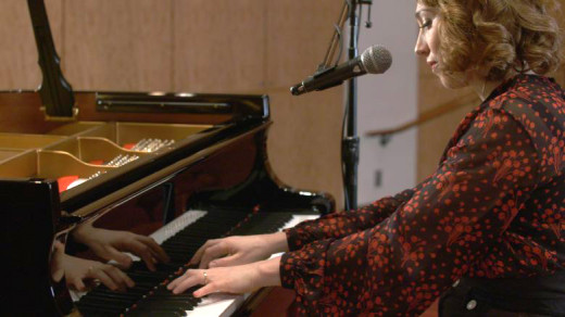 "Regina Spektor '01 performing  ""Après Moi"" during a day of filming with the Poetry in America team."