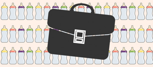 Briefcase and baby bottles illustration