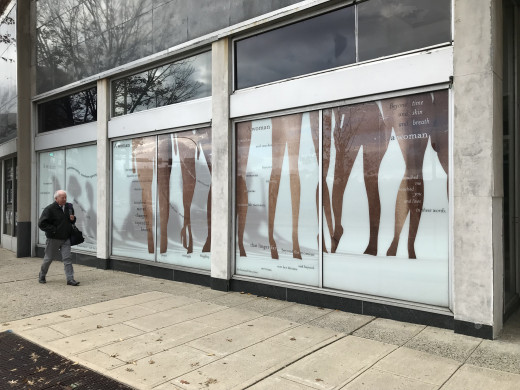 "Art in Vacant Spaces window 2018, ""A Woman"""